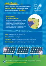 Solar Panels at Rutland Water Public Drop-in Session  10th April at the Audit Hall between 3pm-6.30pm